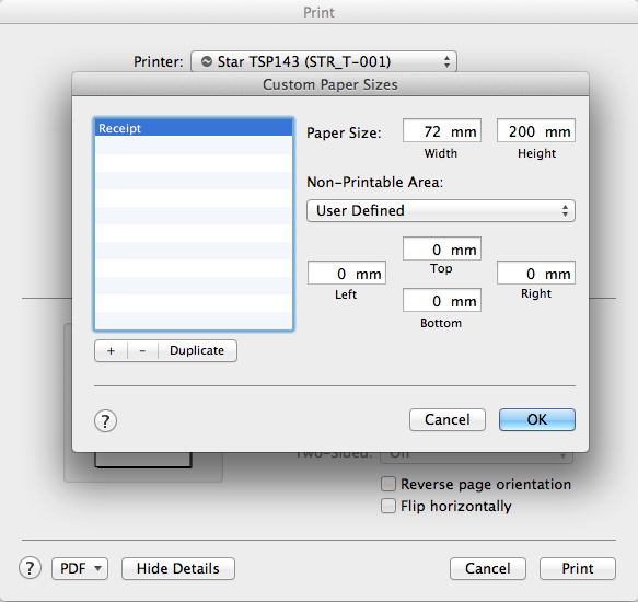 how do i setup the default receipt or label paper size on my mac